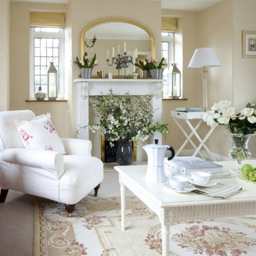 Inredning lantligt new england inspiration inredning for White shabby chic living room furniture